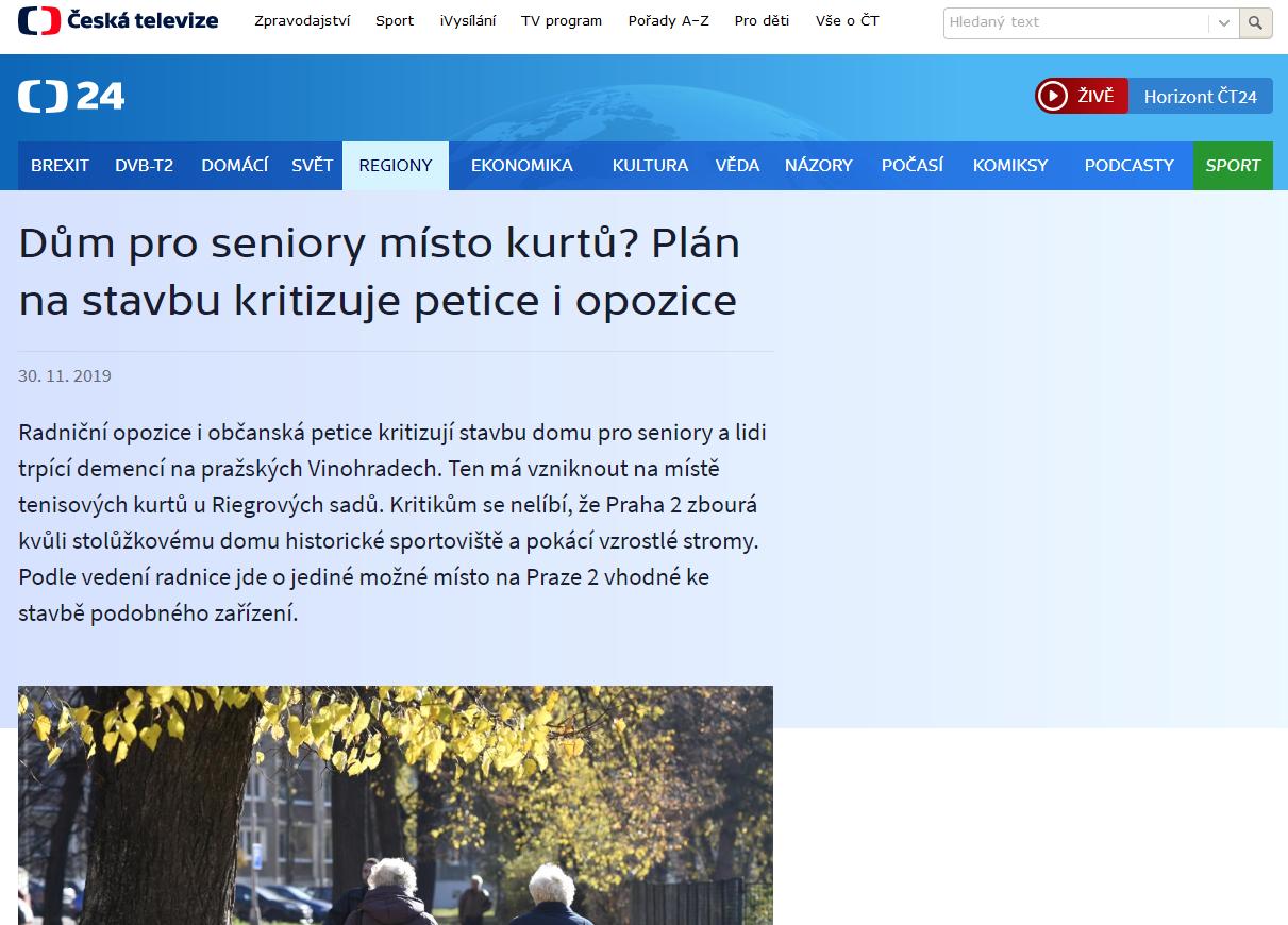 ct24.ceskatelevize.cz: Dům pro seniory místo kurtů? Plán na stavbu kritizuje petice i opozice