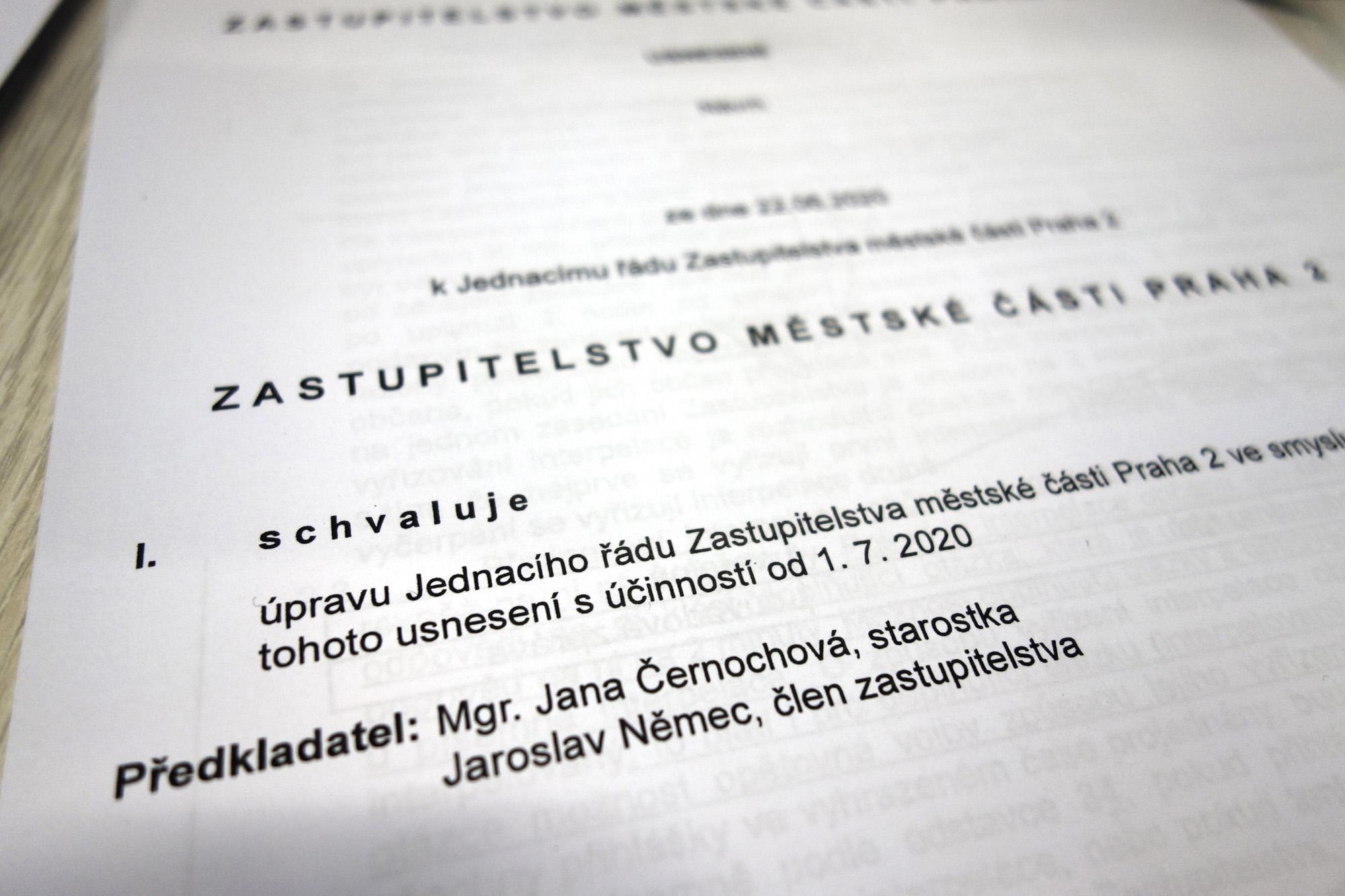Změna jednacího řádu zastupitelstva Prahy 2